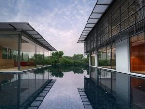 صحنه جنگل رودخانه استخر ساختمان شیشه ای مدل آماده رندر | ZA6AE0805