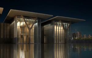 صحنه ساختمان موزه رودخانه دریا شیشه فلز مدل آماده رندر | ZA6AE0902