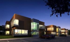 صحنه ساختمان مسکونی تجاری پارکینگ نما آجر شیشه شب مدل آماده رندر | ZA6AE0904
