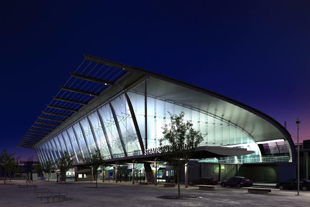 رندر مرکز تجاری ساختمان شیشه فلزی