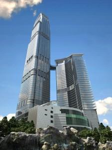 صحنه آسمانخراش برج نما شیشه دوقولو مدل آماده رندر | ZA6AE1004