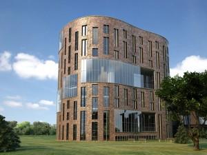 صحنه ساختمان تجاری شرکت نما آجر شیشه چمنزار درخت جنگل مدل آماده رندر | ZA6AE1010