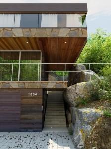صحنه نما ویلا چوب سنگ شیشه جنگل مدل آماده رندر | ZA6AE1102