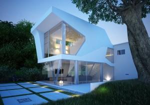 صحنه ویلا خاص دوبلکس نما شیشه فضای سبز لندسکیپ چمن درخت نورپردازی شب مدل آماده رندر | ZA6AE1106