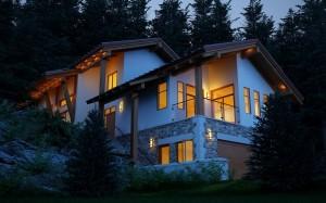 صحنه خانه ویلا شیروانی درختان کاج جنگل نما سنگ چوب نورپردازی شب مدل آماده رندر | ZA6AE1107
