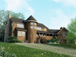 صحنه خانه ویلا شیروانی نما چوب لندسکیپ چمنزار جنگل نورپردازی روز مدل آماده رندر | ZA6AE1108