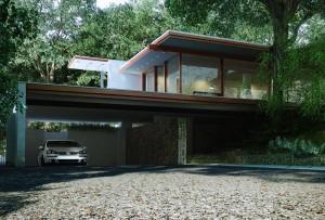 صحنه ویلا وسط جنگل درخت نما چوب فلز مدل آماده رندر | ZA6AE1301