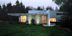صحنه ویلا جنگل نما سنگ بتون سیمان چمن لندسکیپ فضای سبز نورپردازی شب مدل آماده رندر | ZA6AE1302