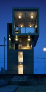 صحنه ساختمان دوبلکس نورپردازی شب تیر چراغ برق مدل آماده رندر | ZA6AE1303