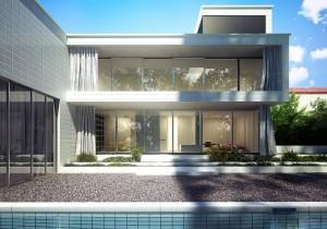 صحنه ویلا دوبلکس سنگریزه نما شیشه باغچه درختچه مدل آماده رندر | ZA6AE1305