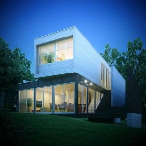 صحنه ویلا دوبلکس چمنزار نما چوب جنگل نور پردازی شب مدل آماده رندر | ZA6AE1306