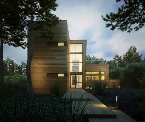 صحنه ویلا چوب دوبلکس جنگل درخت نورپردازی غروب شب مدل آماده رندر | ZA6AE1309