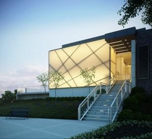 صحنه ساختمان خاص اداری فضای سبز چمنزار نما نورپردازی مدل آماده رندر | ZA6AE1310