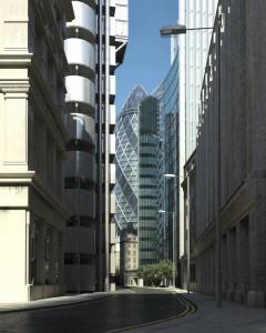 صحنه خیابان شهر لندن برج آسمانخراش مدل آماده رندر | ZA6AE1402