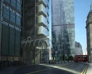 صحنه شهر لندن انگلیس خیابان آسفالت اتوبوس دوطبقه مدل آماده رندر | ZA6AE1407
