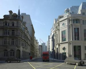 صحنه شهر لندن خانه قدیمی چهار راه مدل آماده رندر | ZA6AE1409