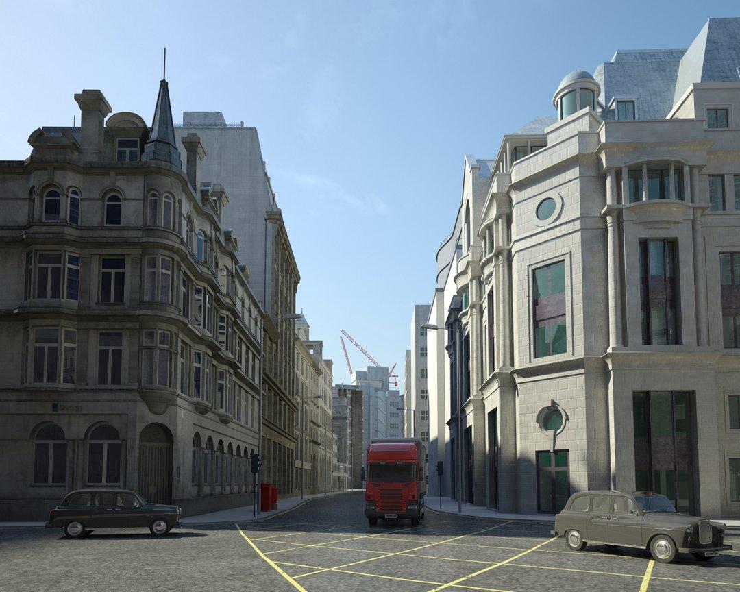 رندر شهر لندن خانه قدیمی چهار راه