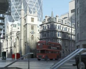 صحنه شهر لندن ساختمان بلند شیشه ای برج آسمانخراش مدل آماده رندر | ZA6AE1410