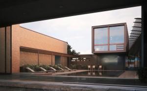 صحنه ویلا استخر روباز ساختمان آجر مدل آماده رندر | ZA6AE1603