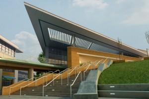 صحنه ساختمان اداری راه پله فضای سبز چمن مدل آماده رندر | ZA6AE1604