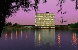 صحنه هتل دریاچه ساختمان تجاری اداری نورپردازی شب غروب مدل آماده رندر | ZA6AE1605