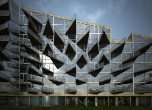 صحنه نما ساختمان اداری شیشه چمن مدل آماده رندر | ZA6AE1607