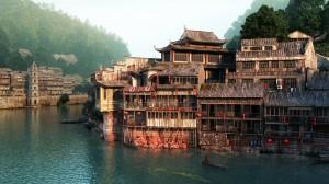 صحنه خانه چینی کنار رودخانه قایق شهر چین جنگل کوه مدل آماده رندر | ZA6AE1704