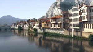 صحنه شهر کنار رودخانه کوه برفی ونیز مدل آماده رندر | ZA6AE1707