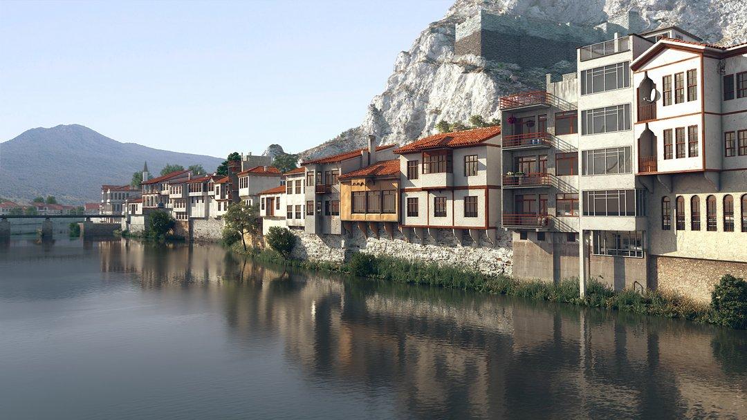 رندر شهر کنار رودخانه
