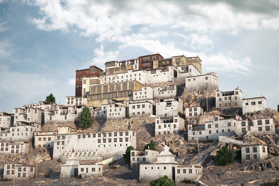 رندر شهر قدیمی بر روی کوه