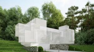 صحنه ویلا منزل جنگل درخت دیوار سنگی نورپردازی روز مدل آماده رندر   ZA6AE1801