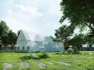 صحنه باغ ویلا خانه لندسکیپ چمن مدل آماده رندر | ZA6AE1805