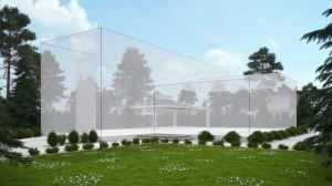 صحنه باغ ویلا استخر لندسکیپ فضای سبز محوطه چمن چتر سایه بان نورپردازی روز مدل آماده رندر | ZA6AE1807
