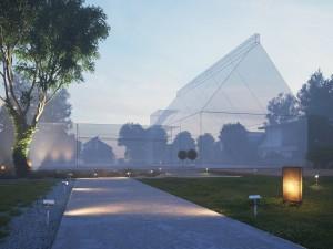 صحنه ویلا باغ چمن لندسکیپ نورپردازی شب مه آلود سنگفرش خیابان مدل آماده رندر | ZA6AE1808
