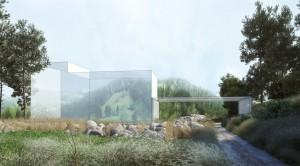 صحنه خانه ویلا باغ طبیعت جنگل کوه استخر سنگ مدل آماده رندر | ZA6AE1809