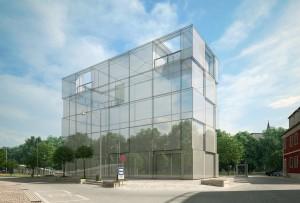 صحنه ساختمان اداری وسط شهر خیابان پیاده رو فواره آبنما پارک چمن مدل آماده رندر | ZA6AE1810