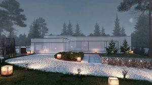 دانلود رندر ویلا مه نورپردازی شب سنگفرش باغچه مدل آماده رندر تری دی مکس وی ری | ZA6AE1906