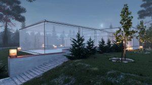 دانلود رندر ویلا مه نورپردازی شب سنگفرش باغچه چمن مدل آماده رندر تری دی مکس وی ری | ZA6AE1906