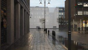 دانلود رندر ویلا خیابان بارانی نورپردازی شب مه آسفالت پیاده رو مدل آماده رندر تری دی مکس وی ری | ZA6AE1909