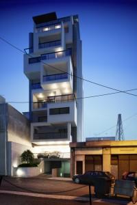 دانلود صحنه منزل مسکونی چهارطبقه ویلا شب مدل آماده رندر | ZA6AE2004
