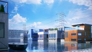 دانلود صحنه شهر ونیز منازل مسکونی روی آب دکل برق فشار قوی مدل آماده رندر | ZA6AE2010