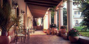 دانلود رندر هتل گلدان کوزه معماری سنتی چمن سنگفرش مدل آماده رندر تری دی مکس وی ری | ZA6AE2201