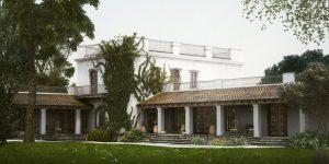 دانلود رندر ساختمان هتل منطقه گرمسیری چمن جنگل مدل آماده رندر تری دی مکس وی ری | ZA6AE2208