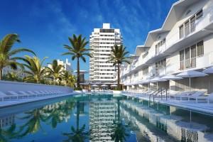 صحنه هتل استخر ساختمان مسکونی استوایی درخت نخل مدل آماده رندر | ZA6AE2305