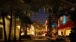 صحنه شب خیابان الجزایر کافی شاپ درخت نخل مدل آماده رندر | ZA6AE2308